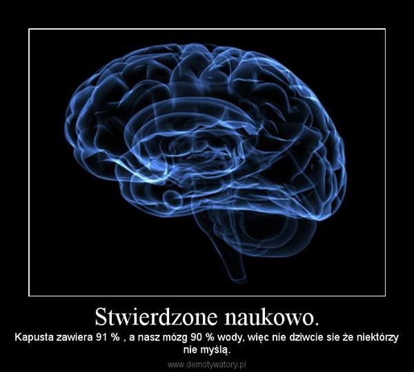 Stwierdzone naukowo. – Kapusta zawiera 91 % , a nasz mózg 90 % wody, więc nie dziwcie sie że niektórzynie myślą.
