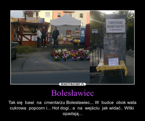 Bolesławiec – Tak się  bawi  na  cmentarzu Bolesławiec... W  budce  obok wata cukrowa  popcorn i... Hot dogi.. a  na  wejściu  jak widać.. Witki  opadają...
