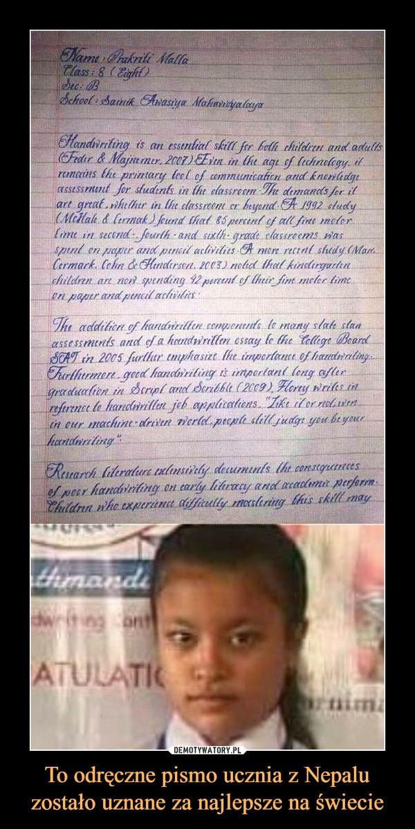 To odręczne pismo ucznia z Nepalu zostało uznane za najlepsze na świecie –