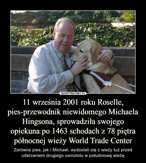 11 września 2001 roku Roselle, pies-przewodnik niewidomego Michaela Hingsona, sprowadziła swojego opiekuna po 1463 schodach z 78 piętrapółnocnej wieży World Trade Center – Zarówno pies, jak i Michael, wydostali się z wieży tuż przed uderzeniem drugiego samolotu w południową wieżę