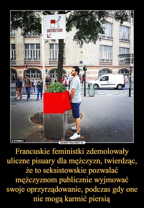 Francuskie feministki zdemolowały uliczne pisuary dla mężczyzn, twierdząc, że to seksistowskie pozwalać mężczyznom publicznie wyjmować swoje oprzyrządowanie, podczas gdy one nie mogą karmić piersią
