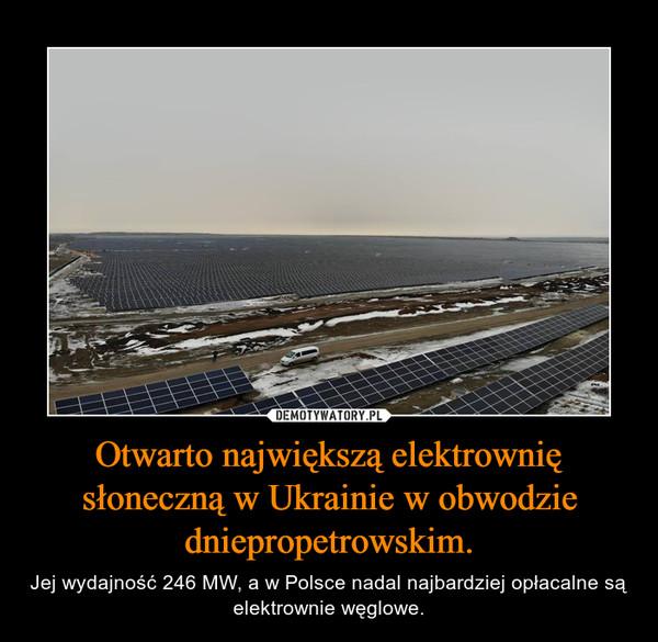 Otwarto największą elektrownię słoneczną w Ukrainie w obwodzie dniepropetrowskim. – Jej wydajność 246 MW, a w Polsce nadal najbardziej opłacalne są elektrownie węglowe.