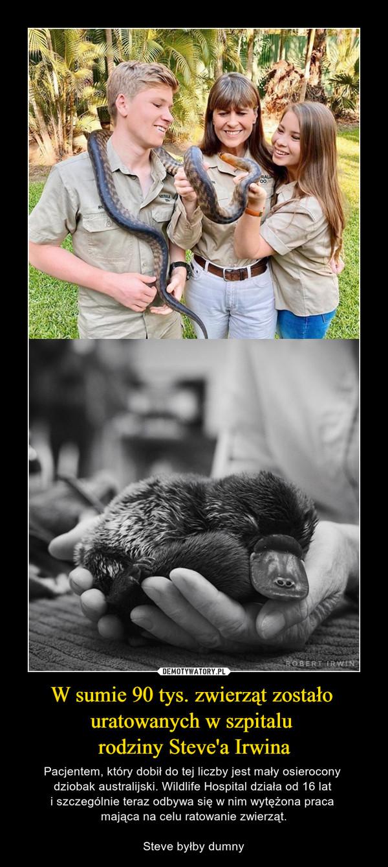 W sumie 90 tys. zwierząt zostało uratowanych w szpitalu rodziny Steve'a Irwina – Pacjentem, który dobił do tej liczby jest mały osierocony dziobak australijski. Wildlife Hospital działa od 16 lat i szczególnie teraz odbywa się w nim wytężona praca mająca na celu ratowanie zwierząt.Steve byłby dumny