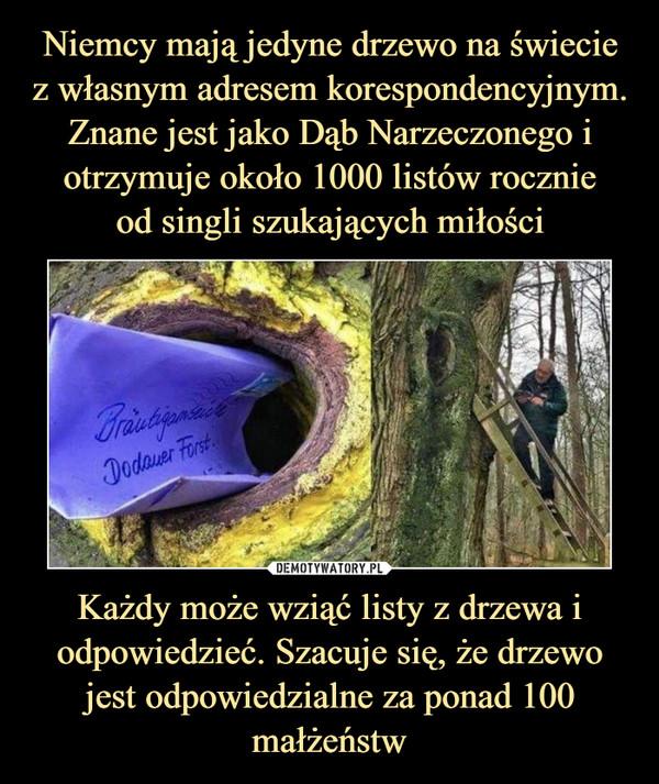 Każdy może wziąć listy z drzewa i odpowiedzieć. Szacuje się, że drzewo jest odpowiedzialne za ponad 100 małżeństw –