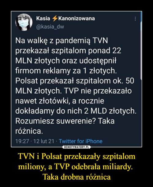 TVN i Polsat przekazały szpitalom miliony, a TVP odebrała miliardy.  Taka drobna różnica