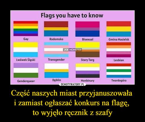 Część naszych miast przyjanuszowała  i zamiast ogłaszać konkurs na flagę,  to wyjęło ręcznik z szafy