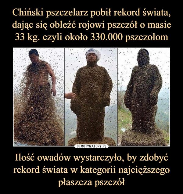 Ilość owadów wystarczyło, by zdobyć rekord świata w kategorii najcięższego płaszcza pszczół –