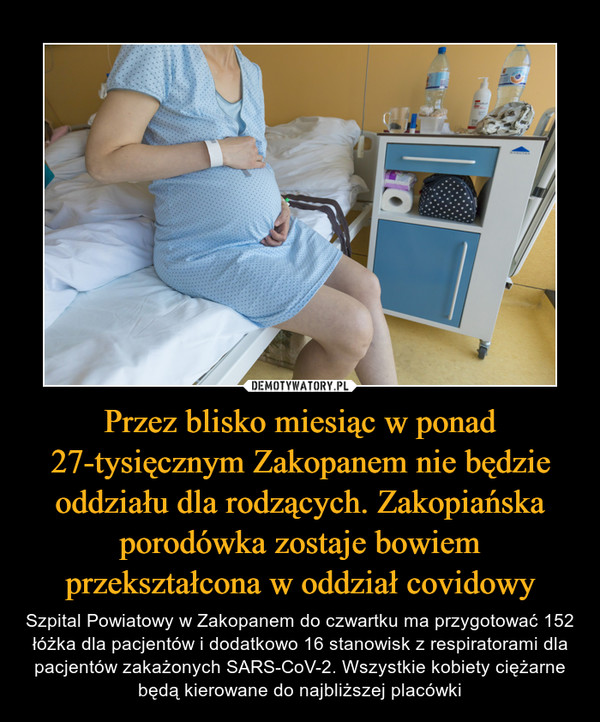 Przez blisko miesiąc w ponad 27-tysięcznym Zakopanem nie będzie oddziału dla rodzących. Zakopiańska porodówka zostaje bowiem przekształcona w oddział covidowy – Szpital Powiatowy w Zakopanem do czwartku ma przygotować 152 łóżka dla pacjentów i dodatkowo 16 stanowisk z respiratorami dla pacjentów zakażonych SARS-CoV-2. Wszystkie kobiety ciężarne będą kierowane do najbliższej placówki