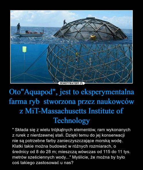 """Oto""""Aquapod"""", jest to eksperymentalna farma ryb  stworzona przez naukowców z MiT-Massachusetts Institute of Technology"""