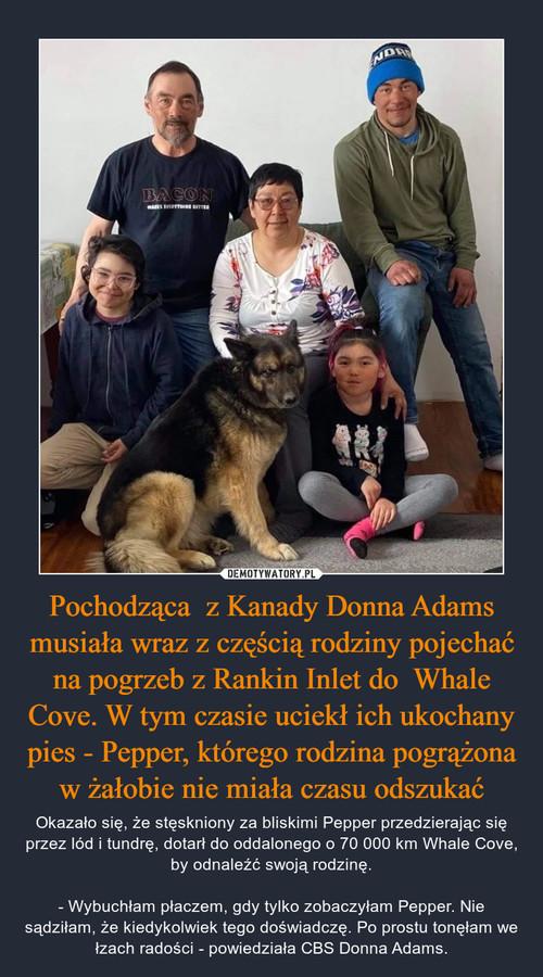Pochodząca  z Kanady Donna Adams musiała wraz z częścią rodziny pojechać na pogrzeb z Rankin Inlet do  Whale Cove. W tym czasie uciekł ich ukochany pies - Pepper, którego rodzina pogrążona w żałobie nie miała czasu odszukać