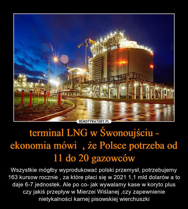 terminal LNG w Śwonoujściu - ekonomia mówi  , że Polsce potrzeba od 11 do 20 gazowców – Wszystkie mógłby wyprodukować polski przemysł, potrzebujemy 163 kursow rocznie , za które płaci się w 2021 1,1 mld dolarów a to daje 6-7 jednostek. Ale po co- jak wywalamy kase w koryto plus czy jakiś przepływ w Mierzei Wiślanej ,czy zapewnienie nietykalności karnej pisowskiej wierchuszki
