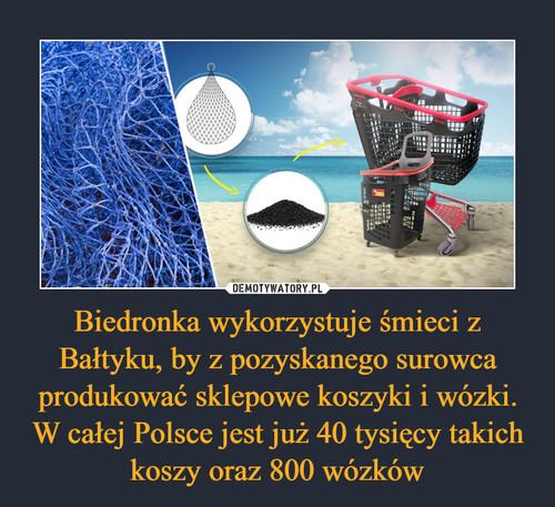Biedronka wykorzystuje śmieci z Bałtyku, by z pozyskanego surowca produkować sklepowe koszyki i wózki. W całej Polsce jest już 40 tysięcy takich koszy oraz 800 wózków