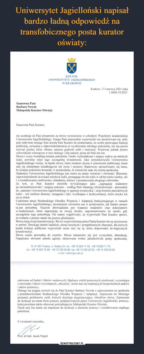 Uniwersytet Jagielloński napisał bardzo ładną odpowiedź na transfobicznego posta kurator oświaty: