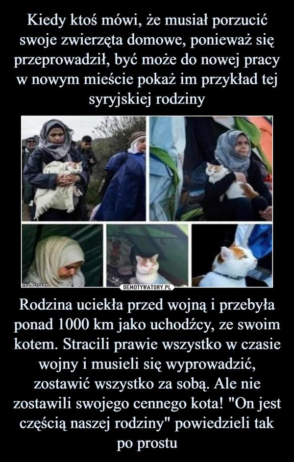 """Rodzina uciekła przed wojną i przebyła ponad 1000 km jako uchodźcy, ze swoim kotem. Stracili prawie wszystko w czasie wojny i musieli się wyprowadzić, zostawić wszystko za sobą. Ale nie zostawili swojego cennego kota! """"On jest częścią naszej rodziny"""" powiedzieli tak po prostu –"""