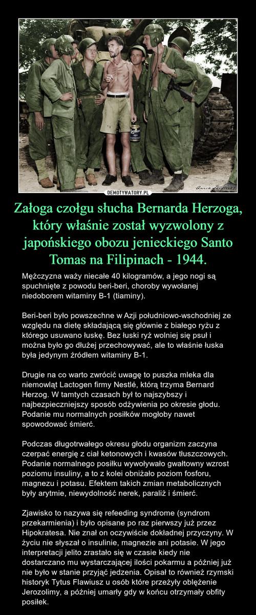 Załoga czołgu słucha Bernarda Herzoga, który właśnie został wyzwolony z japońskiego obozu jenieckiego Santo Tomas na Filipinach - 1944.