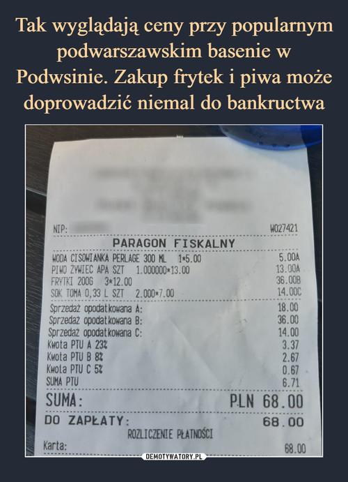 Tak wyglądają ceny przy popularnym podwarszawskim basenie w Podwsinie. Zakup frytek i piwa może doprowadzić niemal do bankructwa