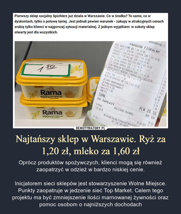 Najtańszy sklep w Warszawie. Ryż za 1,20 zł, mleko za 1,60 zł – Oprócz produktów spożywczych, klienci mogą się również zaopatrzyć w odzież w bardzo niskiej cenie.Inicjatorem sieci sklepów jest stowarzyszenie Wolne Miejsce. Punkty zaopatruje w jedzenie sieć Top Market. Celem tego projektu ma być zmniejszenie ilości marnowanej żywności oraz pomoc osobom o najniższych dochodach