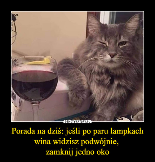 Porada na dziś: jeśli po paru lampkach wina widzisz podwójnie,  zamknij jedno oko