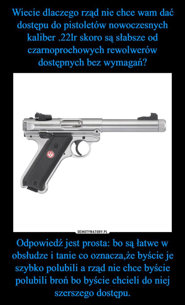 Odpowiedź jest prosta: bo są łatwe w obsłudze i tanie co oznacza,że byście je szybko polubili a rząd nie chce byście polubili broń bo byście chcieli do niej szerszego dostępu. –