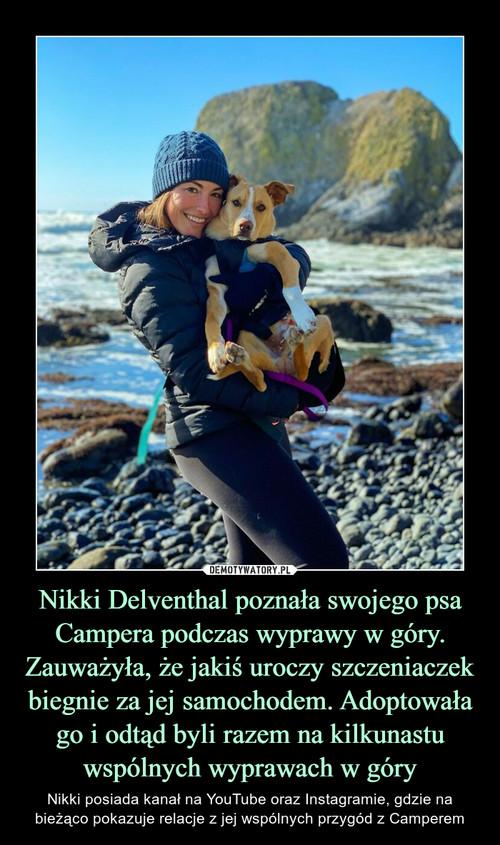 Nikki Delventhal poznała swojego psa Campera podczas wyprawy w góry. Zauważyła, że jakiś uroczy szczeniaczek biegnie za jej samochodem. Adoptowała go i odtąd byli razem na kilkunastu wspólnych wyprawach w góry