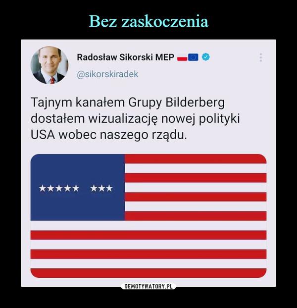 –  Radosław Sikorski MEP O@sikorskiradekTajnym kanałem Grupy Bilderbergdostałem wizualizację nowej politykiUSA wobec naszego rządu.
