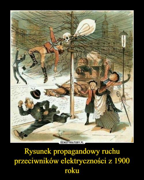 Rysunek propagandowy ruchu przeciwników elektryczności z 1900 roku