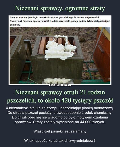 Nieznani sprawcy, ogromne straty Nieznani sprawcy otruli 21 rodzin pszczelich, to około 420 tysięcy pszczół