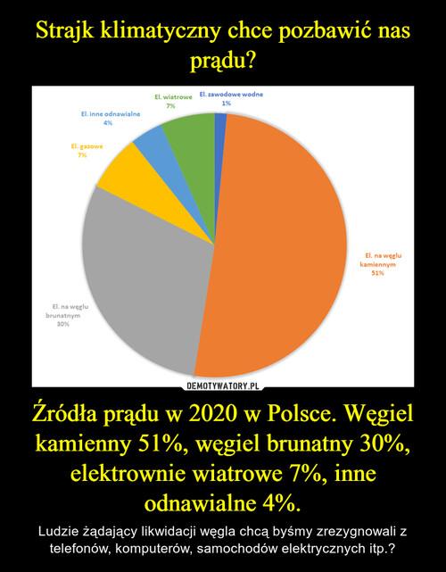Strajk klimatyczny chce pozbawić nas prądu? Źródła prądu w 2020 w Polsce. Węgiel kamienny 51%, węgiel brunatny 30%, elektrownie wiatrowe 7%, inne odnawialne 4%.