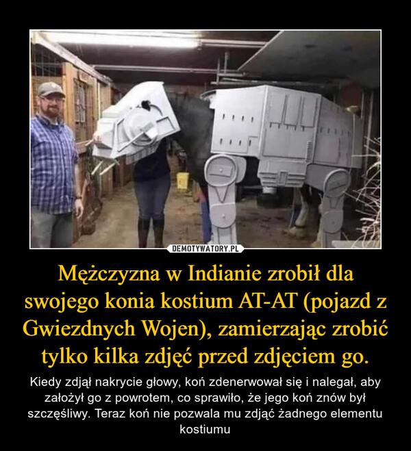 Mężczyzna w Indianie zrobił dla swojego konia kostium AT-AT (pojazd z Gwiezdnych Wojen), zamierzając zrobić tylko kilka zdjęć przed zdjęciem go. – Kiedy zdjął nakrycie głowy, koń zdenerwował się i nalegał, aby założył go z powrotem, co sprawiło, że jego koń znów był szczęśliwy. Teraz koń nie pozwala mu zdjąć żadnego elementu kostiumu